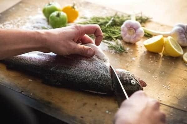 Fisch filetieren - Schnitt an der Brustflosse