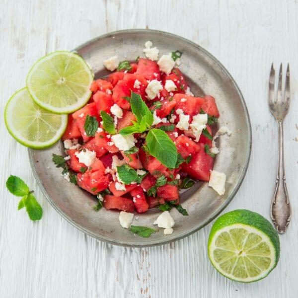 Rezept für Salat mit Wassermelone, Feta und Minze