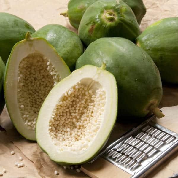 Für Papayasalat verwendet man nur unreife, grüne Papaya