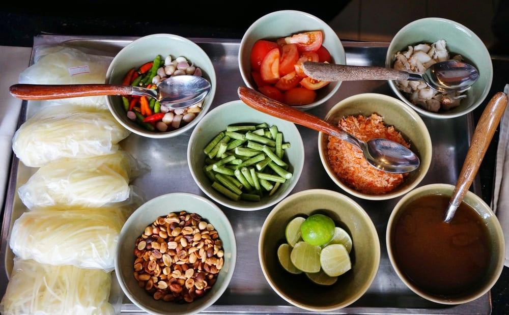 Zutaten für den Papayasalat