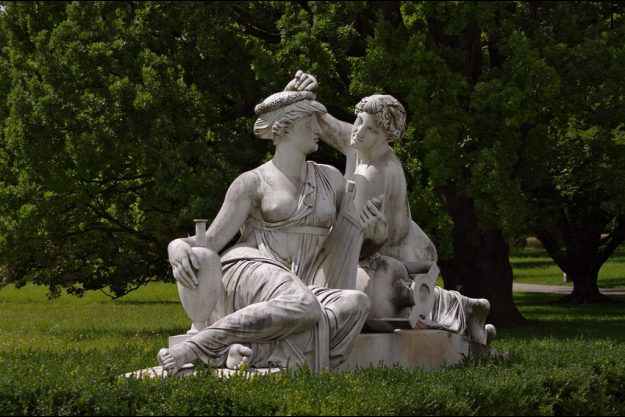 Betriebsausflug Stuttgart - römische Statuen im Stadt Park