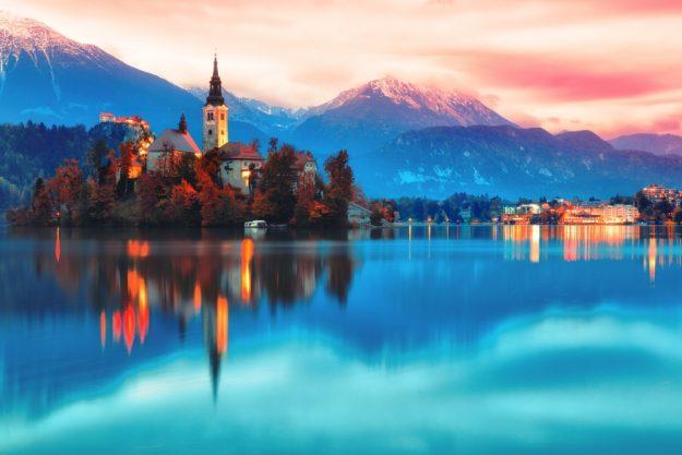 Virtuelle Reise nach Slowenien Insel im See Blad