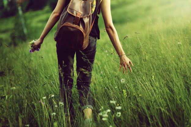 Kräuterwanderung München – Frau sammelt Kräuter in der Natur