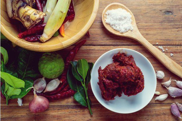 Thai-Kochkurs Hamburg – rote Curry Paste Zutaten